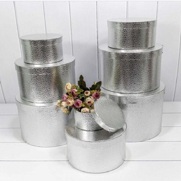 Подарочная коробка круглая , цвет серебро (плотная) 55956