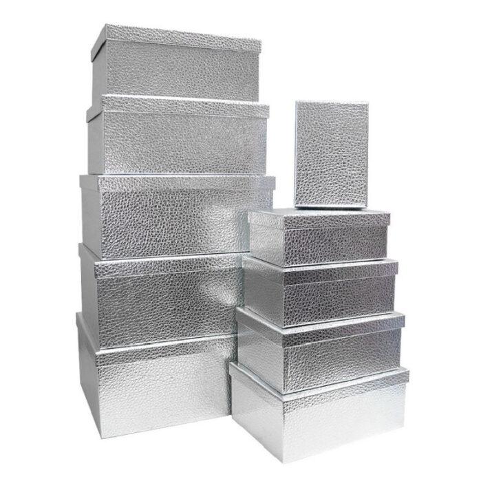 Подарочная коробка, цвет серебро (плотная) 55954