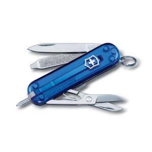 Нож-брелок VICTORINOX Signature, 58 мм, 7 функций, полупрозрачный синий