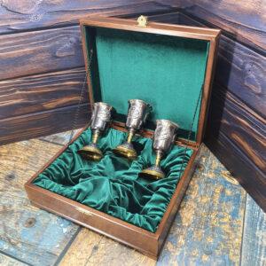 """Бокалы 3 шт """"Охота"""" в деревянной шкатулке (латунь, серебро) 47336"""