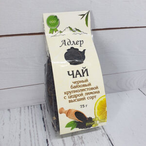 Чай черный крупнолистовой с цедрой лимона 75 г. Адлер Чай 55179