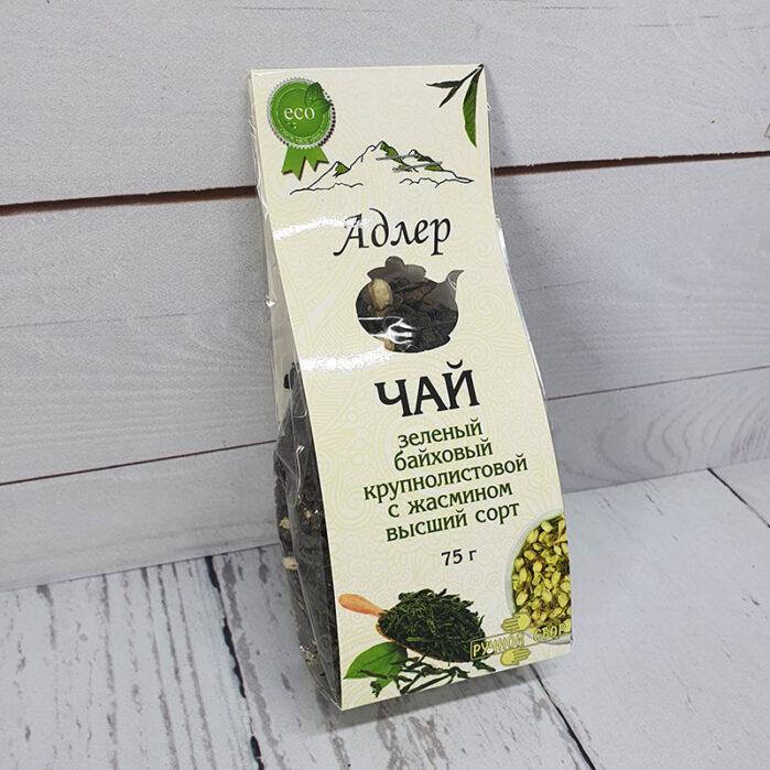 Чай зеленый крупнолистовой с жасмином 75 г. Адлер Чай 55178