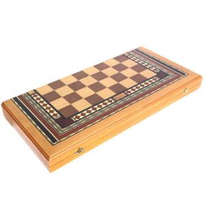 Нарды деревянные с клеткой и орнаментом 26616