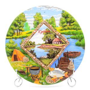 Тарелка Отдых на природе - Река с хатой 50266