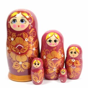 """Матрешка 5 шт """"Золотой цветок бордовая"""" 42993"""