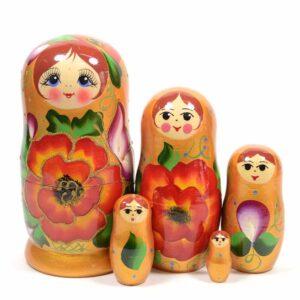"""Матрешка 5 шт """"Зветы золото"""" 25534"""
