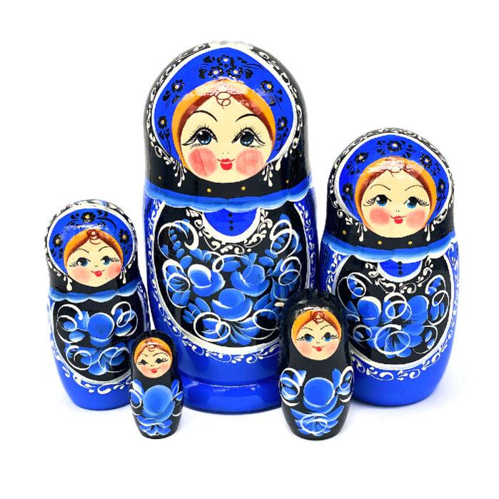 "Матрешка 5 шт ""Гжельская"" 55896"
