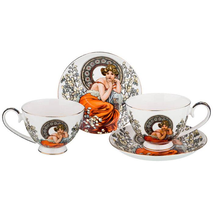 """Чайный набор на 2 персоны """"Топаз"""" 4 предмета 250 мл  57013"""