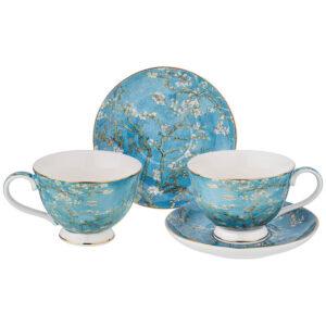 """Кофейный набор """"Цветущие ветки миндаля"""" (В. Ван Гог) на 2 персоны 4 предмета 140 мл  57021"""