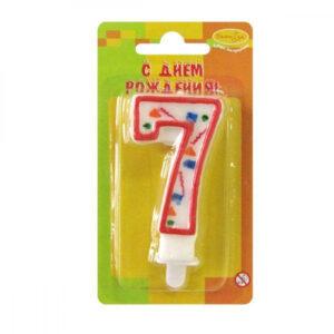 Свеча Цифра 7 Красное Конфетти 34245