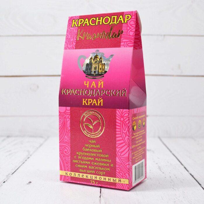 Чай черный байховый ягоды малины, листья ежевики, синий василек  75 г. Краснодарский чай 55707