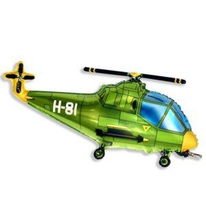 """Шар фольгированный 30"""" «Вертолёт», цвет зелёный 56231"""