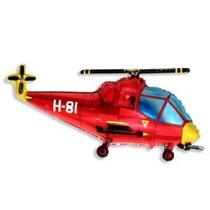 """Шар фольгированный 30"""" «Вертолёт», цвет красный 56221"""
