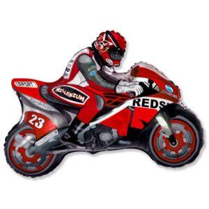 """Шар фольгированный 30"""" «Мотоциклист», цвет красный 56223"""