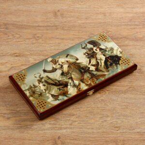 """Нарды """"Крестоносцы"""", деревянная доска 40х40 см, с полем для игры в шашки 56116"""