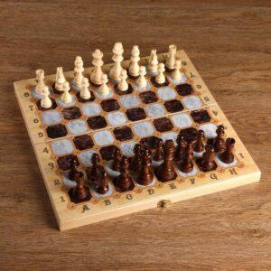 "Настольная игра 3 в 1 ""Мрамор"": шахматы, шашки, нарды (доска дерево 40х40 см) 56121"