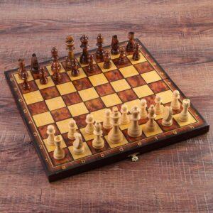 """Настольная игра 3 в 1 """"Классическая"""": шахматы, шашки, нарды (доска дерево 40х40 см) 56120"""