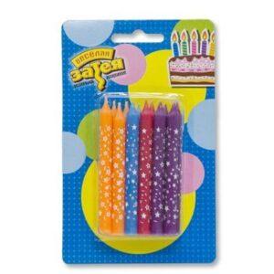 Свечи на торт 12 шт Звезда 8см 34355