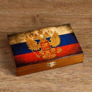 """Домино """"Россия"""" в деревянной шкатулке 42594"""