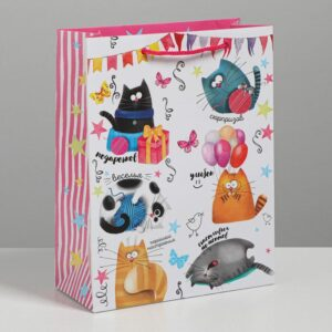 Пакет «Забавные коты», MS 18 × 23 × 8 см 55968