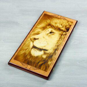 """Нарды """"Лев"""", деревянная доска 60х60 см, с полем для игры в шашки 56276"""