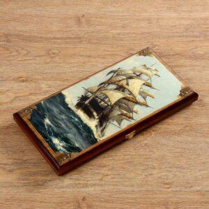"""Нарды """"Морские"""", деревянная доска 40х40 см, с полем для игры в шашки 56277"""