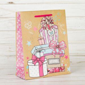 Пакет крафтовый «Долгожданные подарки», ML 23 × 27 × 8 см 52125