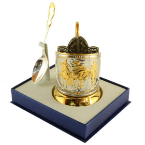 """Набор подстаканник с позолотой """"Три Богатыря"""" стакан и ложка с """"Юбилейная"""" никелированный 42814"""