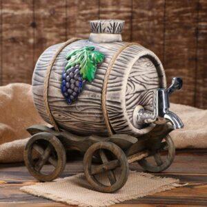 Бочка на деревянной телеге с виноградом, серебристый кран, 3 л 52129