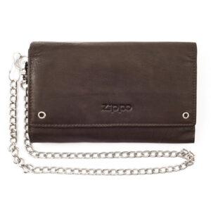 """Бумажник байкера Zippo цвет """"мокко"""", натуральная кожа, с металлической цепочкой и карманом для зажиг"""