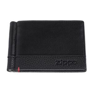 Зажим для денег ZIPPO с защитой от сканирования RFID, чёрный, натуральная кожа