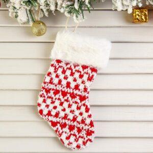 """Носок для подарков """"Вязанка"""" 9*19 см, узорный 51479"""