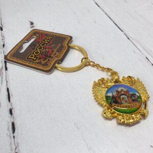 Брелок Краснодар Екатерина святая и Триумфальная арка Герб РФ (золото) 56358