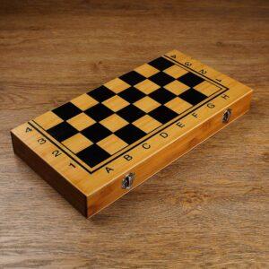 """Настольная игра 3 в 1 """"Король"""": нарды, шахматы, шашки, доска и фигуры дерево 39х39 см 57157"""