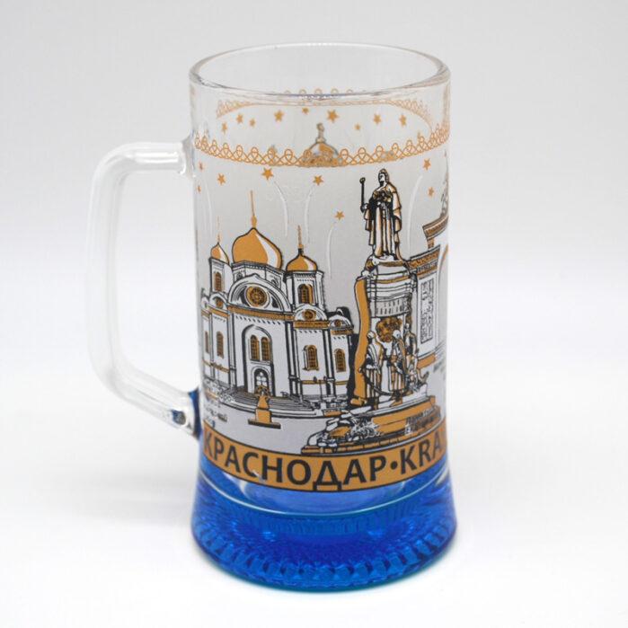 Кружка пивная Краснодар 300 мл. с цветным дном цвет МИКС 52490