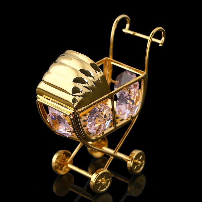 Сувенир «Детская коляска», 6х3х6 см, с кристаллами Сваровски 57226
