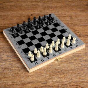 "Настольная игра 3 в 1 ""Шелест"": нарды, шахматы, шашки, доска 24х24 см 56281"