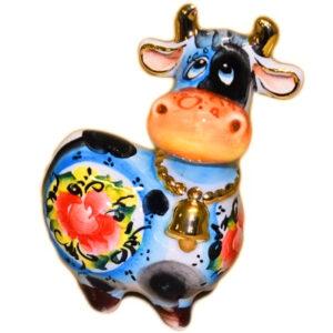 Статуэтка корова (цв.гжель с позолотой ) 10 см 53874