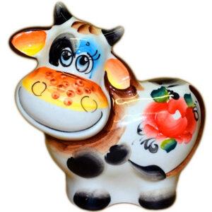 Корова цветная гжель 11 см 53870