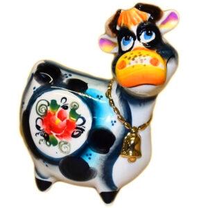 Корова (цв.гжель с позолотой ) 11.5 см 53877