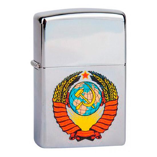 Зажигалка Zippo (зиппо) №250 Герб СССР с покрытием High Polish Chrome, латунь/сталь, серебристая, гл