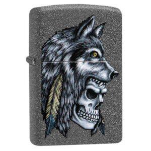 Зажигалка Zippo (зиппо) №29863 Wolf Skull Feather Design