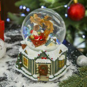 """Снежный шар музыкальный крутится """"Дед Мороз на крыше дома"""" 47750"""