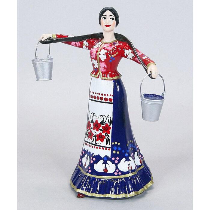 Статуэтка Казачка с коромыслом 15,5 см, в синем (ручная роспись) 55226
