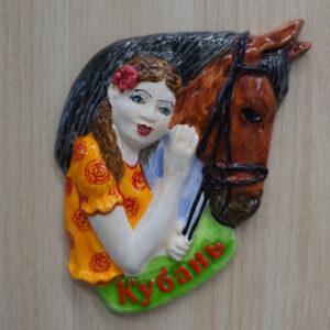 Магнит Казачка с лошадью 20978