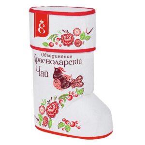 Подарочный набор «Валенок Городецкая роспись» с черным крупнолистовым чаем 70г 51681