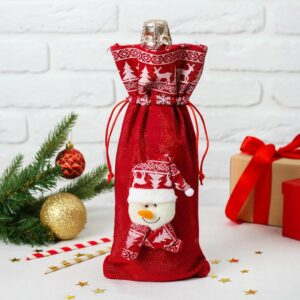 """Одежда на бутылку """"Снеговик колпак и шарф с рисунком"""" на завязках 51494"""