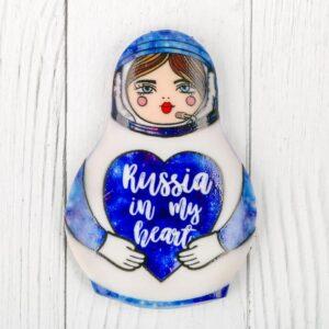 """Магнит в форме матрешки """"Russia in my heart"""" 48484"""