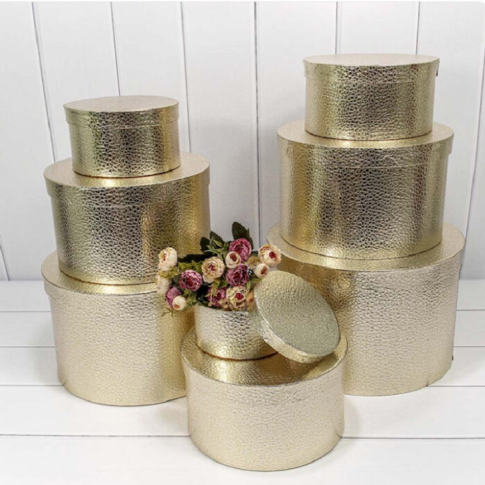 Подарочная коробка круглая , цвет золото (плотная) 56084
