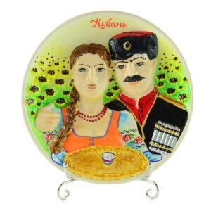 Тарелка Казак с казачкой Кубань бол. 39876